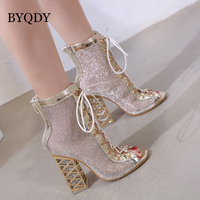BYQDY Summer Sandal Sexy Golden Bling Gladiator Sandals Women Pumps Shoes Lace Up High Heels Sandals Boots Gold botines Discount