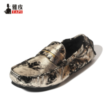 HIGHT QUALITY New Summer Men REAL Leather Comfort Graffiti Prints Loafer Casual Outdoor Boat Shoes