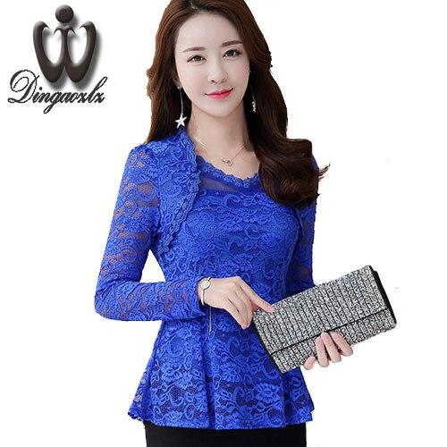Plus size 4XL Chiffon   Blouse   Women's Ruffles Lace Hollow out   Blouses     Shirts   Long Sleeve Sexy Tops Women Blusas Femininas