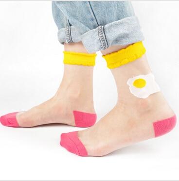 Women Japanese Transparent Socks The Restaurant Food Series Silk Socks Hamburg Sushi Pizza Meias Calcetines Mujer Crystal Sock