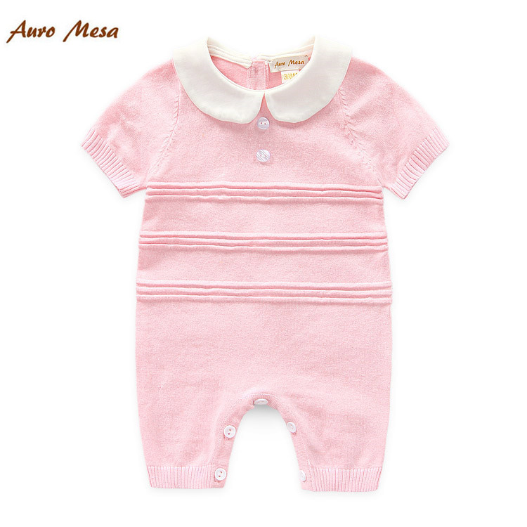 100%Cotton Baby Summer Knitted Rompers Short-sleeve Newborn Bebes One-piece Jumpsuit