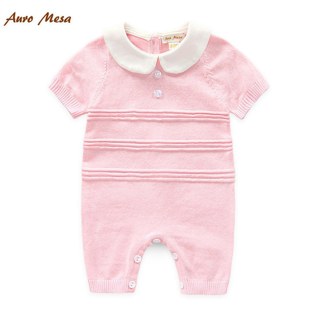 3d25974ca 100%Cotton Baby Summer Knitted Rompers Short sleeve Newborn Bebes ...