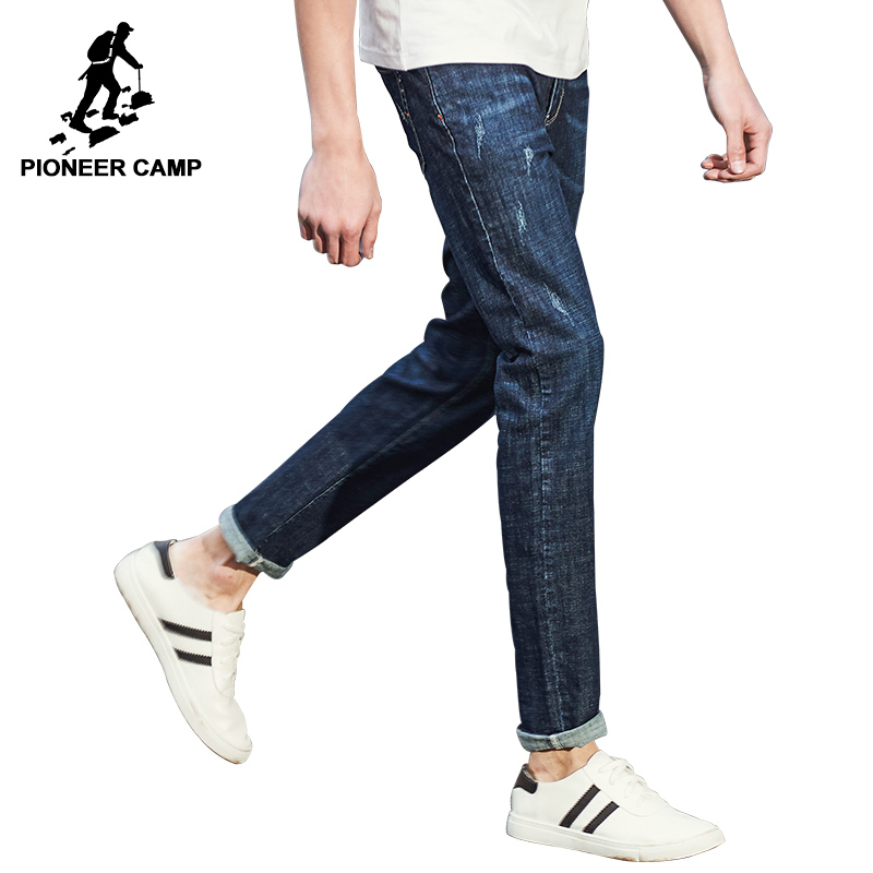 Pioneer Camp New Spring Jeans men brand clothing fashion straight denim trousers casual slim fit denim pants for men ANZ707002 brand jeans men 2017 new fashion spring autumn mens jeans slim fitness cotton pants male brand clothing casual denim trousers
