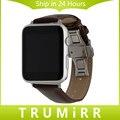 Кожаный Ремешок Бабочка Пряжка Ремень для 38 мм 42 мм iWatch Apple Watch Наручные Пояс Браслет Черный Коричневый + адаптер