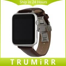 Butterfly correa de piel genuina hebilla de correa de 38mm 42mm iwatch apple watch banda de pulsera pulsera de la correa negro marrón + adaptador