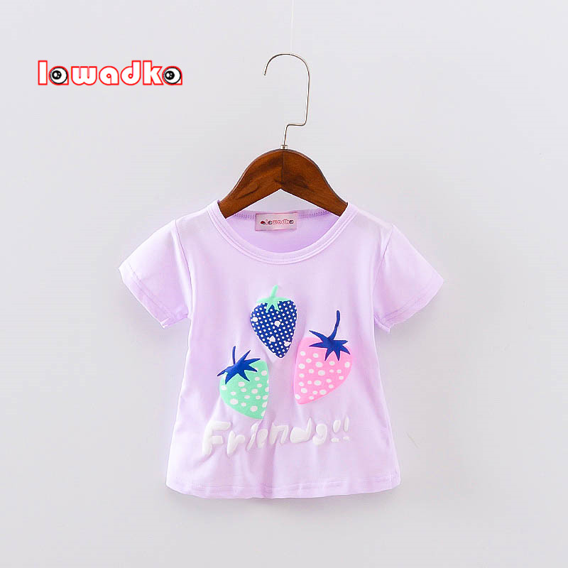 New Sport Baby Girls Boys t-shirt Short Sleeve Strawberry Pattern t-shirts for Girls Cotton Children Clothes
