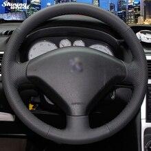 BANNIS сшитый вручную черный кожаный чехол на руль для автомобиля peugeot 307
