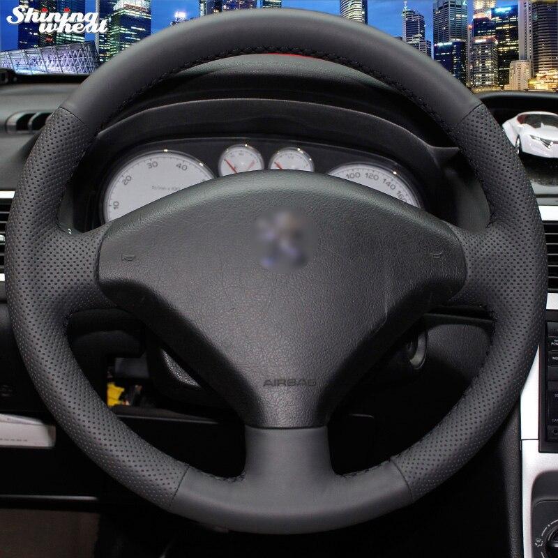 Brillant blé cousu Main En Cuir Noir Volant pour Peugeot 307 Voiture