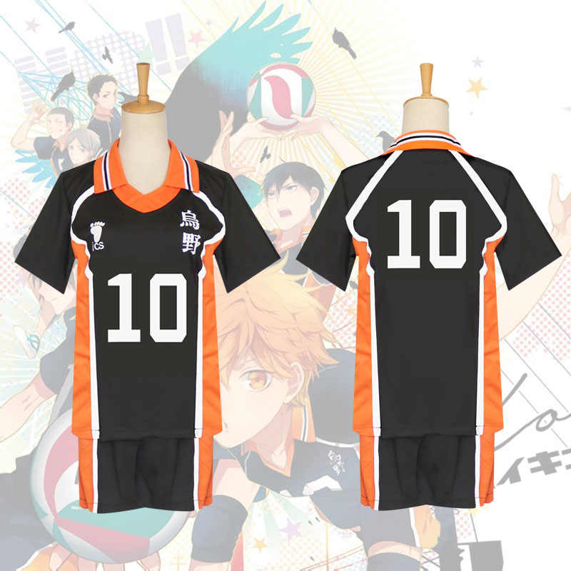 KINOMOTO Haikyuu! Karasuno High School Sport Suit Volleyball Uniform Cosplay Costume Top Shorts for Women
