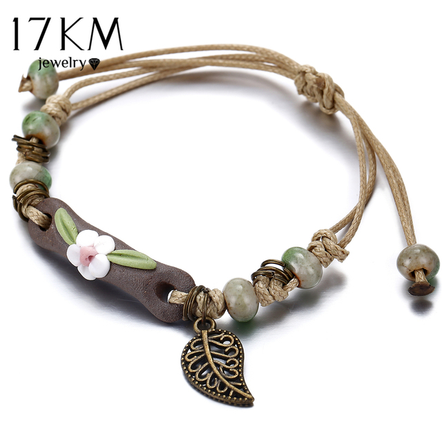 17KM Handmade Ceramic Flower Bracelets For Women Girls Gift Retro Leaf Beads Weave Rope Charm Bracelet Jewelry New Drop Shipping