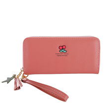 New womens wallet cherry lovely tassel women purses single zipper handbag leather purse  designer