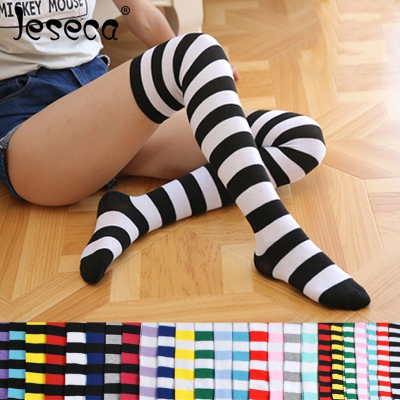 Colorful Sexy Striped Boots Compression Stockings Women Over Knee Socks Girls Socks Long Body Fashion Female Thigh High Socks