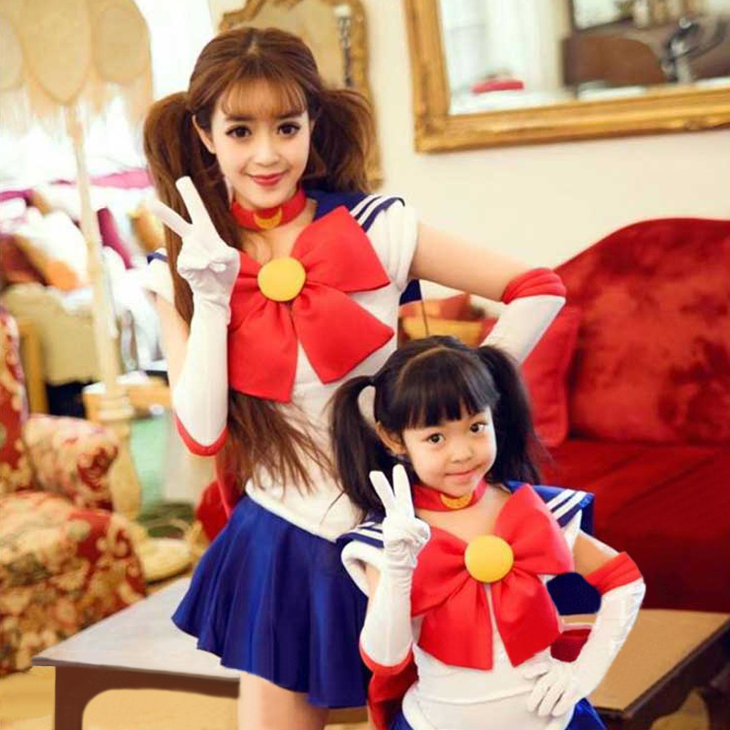 Anime Sailor Moon Cosplay Costume Sailor Moon Carnaval Halloween Party Costumes for Women Kids Custom-made Any Size