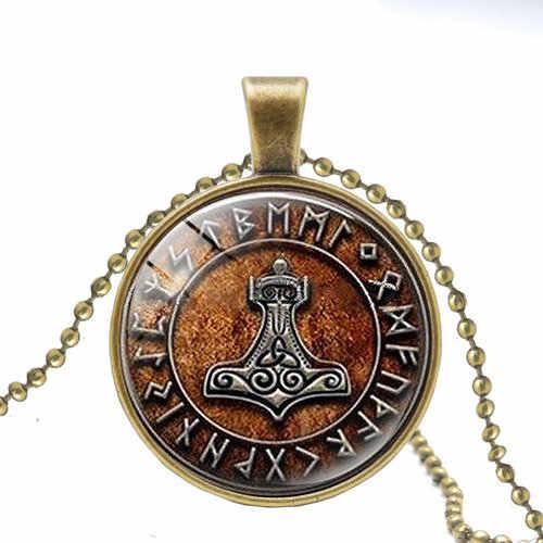 2019 hot Vegvisir Viking kompas wisiorek naszyjnik biżuteria szkło naszyjnik kaboszonowy mężczyźni i kobiety noszą naszyjniki