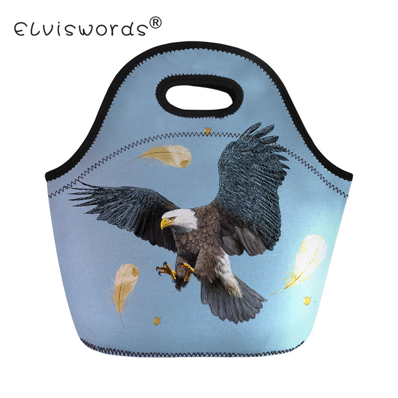 ELVISWORDS Cool Eagle Print Lunch Bag Men Women Tote Picnic Food Storage For Kids Girls Insulated Thermal Lunch Box Lancheira