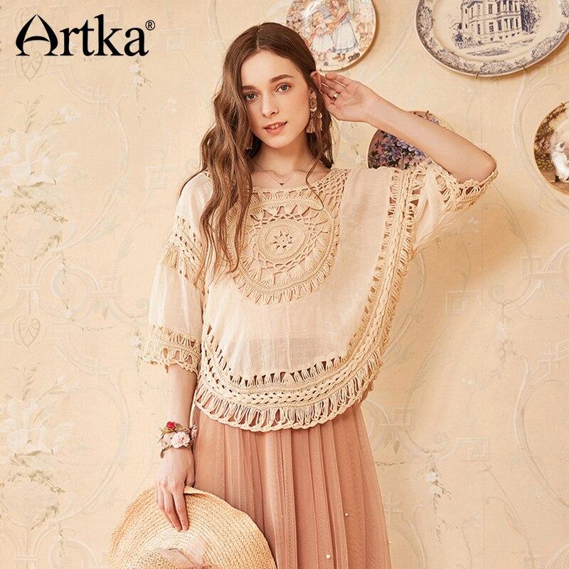 Artka 2018 Summer New Women Holiday Style Loose Hook Flower Bohemian Knitted Thin Shawl Blouse YB15083X meifeier 407 women s fashionable knitted chiffon blouse apricot l
