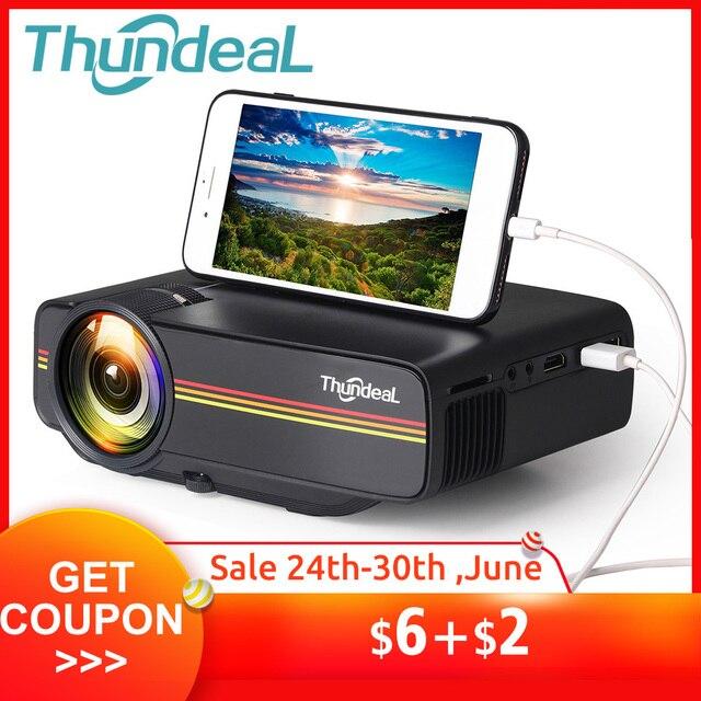 ThundeaL YG400 się YG400A mini projektor 1800 lumenów przewodowy wyświetlacz synchronizacja bardziej stabilny niż WiFi statek film AC3 HDMI VGA projektor