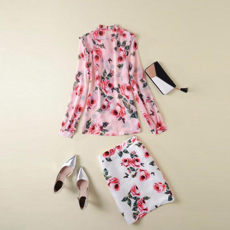 Hemd Runway Designer Anzug Mode Elegante Rock Bluse Set Langarm Kleidung Druck Sommer Jacquard 2018 Frauen j54AqR3L