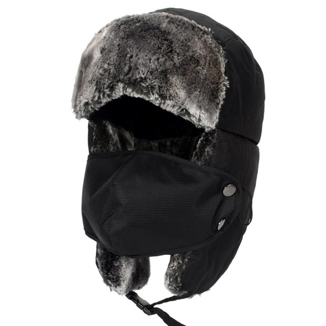 097da8787c9 Unisex Winter Trooper Trapper Hat Ear Flap Chin Strap with Windproof Mask  Winter Ski Russian Fur Trapper Hats With Ear Flap Mask-in Bomber Hats from  Apparel ...