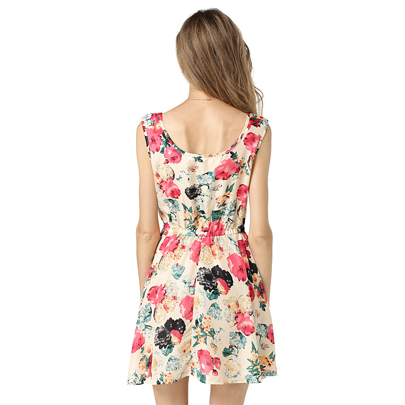Women 39 s Printed Chiffon Dress Fashion 2019 Summer Cute Elegant Sleeveless Dress Flower Vest Dresses Elegant Party Beach Tunic in Dresses from Women 39 s Clothing