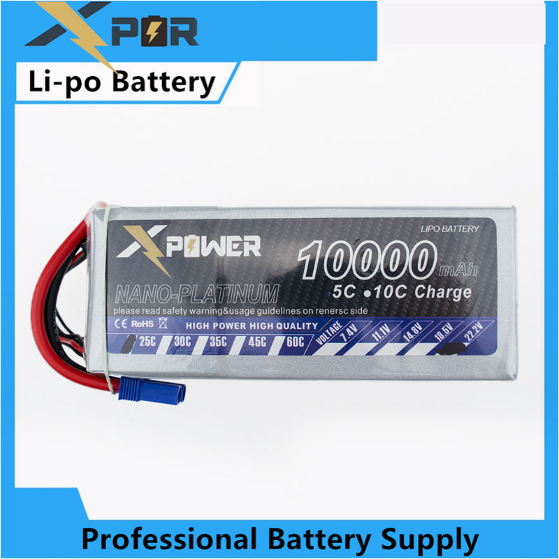 2pcs lipo 22.2V 6s Battery 10000mah 25C XT60 T EC5 plug X power for rc drone Helicopter airplanes Quadcopter boat parts image
