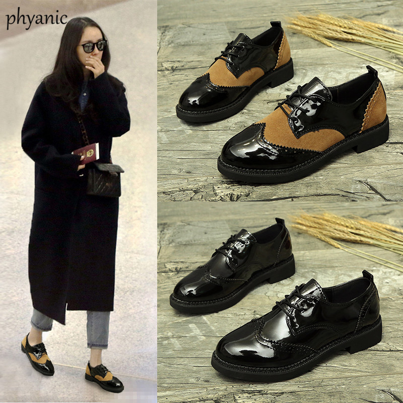 Phyanic Brand flat British Style oxford shoes for women Patent Leather Lace Up ladies woman flats Casual shoes 2018 spring beffery 2018 spring patent leather shoes women flats round toe casual shoes vintage british style flats platform shoes for women