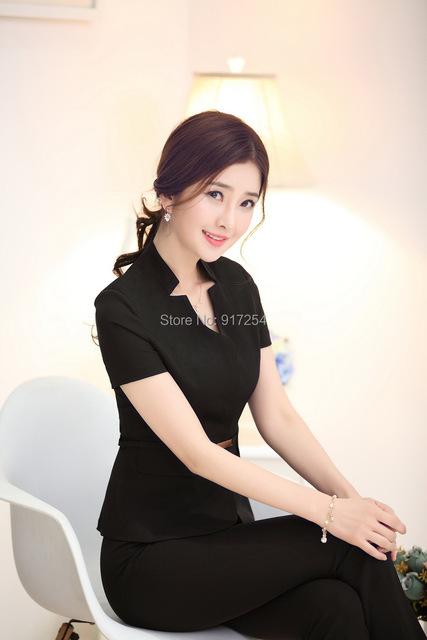 Más tamaño nuevo verano 2015 uniforme Formal del diseño trajes de pantalones de elegante negro mujer trajes con pantalones y la chaqueta pantalones trajes para mujer