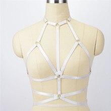 Mode pastel goth élastique corps harnais sexy lingerie détail lingerie  bondage cage soutien-gorge fétiche corps harnais blanc 4da4ab27f4c
