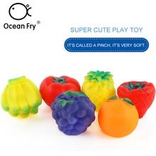 6Pcs/Set Baby Bath Toys Fruit Shape Beach Multi Sensory Tactile Pinch Training Floating Toy Children Kids Gift Dropshipping