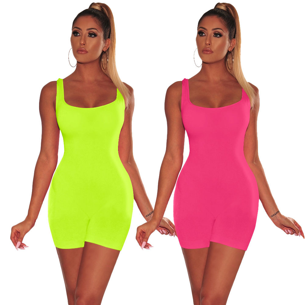 Summer Tank Fitness Backless Beach Playsuit Sexy Slim Bodycon Solid One Piece Short   Jumpsuit   Women Sleeveless Overalls Romper