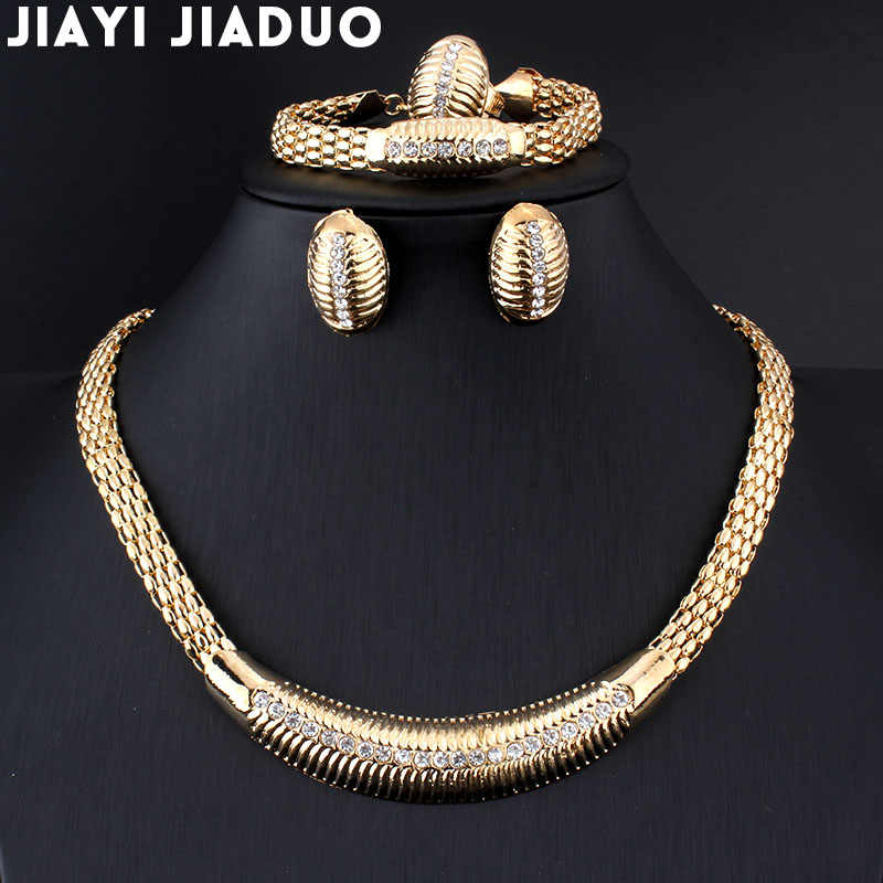jiayijiaduo African Beads Wedding  Jewelry Summer Style Small Crystals Necklace Bracelet Earrings Gold color Wedding Ring Set