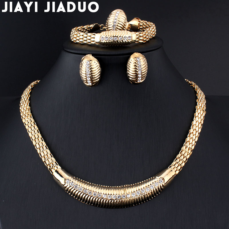 Jiayijiaduo African Beads Wedding Jewelry Summer Small Crystals Necklace Bracelet Earrings Gold Color Wedding Ring Set