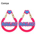 Comiya hearts blue color letters charm punk earrings for women accessories bijoux femme acessorios para mulher cute earring