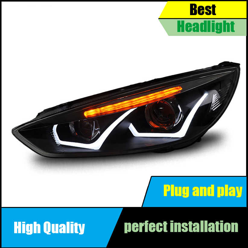 Car Styling Head Lamp For Ford Focus MK3 Headlights 2015-2017 LED Headlight  Assembly LED DRL Light Bi-Xenon HID Accessories