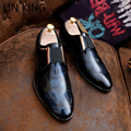 LIN KING New Top Patent Leather Pointed Oxfords Men Massage Soft PU Classic Business Shoes Pointed Toe Flat Men's Dress Shoes
