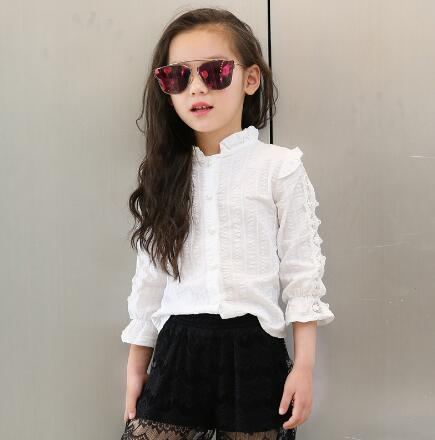 Teenage Girls Blouses & Shirts White Long Sleeve Blouses For Girls School Kids Clothes Tops Spring Children Clothing 3-12 Y