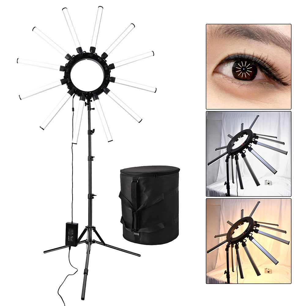 Fusitu Dimmable 3200-5600K TL-1800 Photographic Lighting Lamp 12 Tubes Star Makeup Camera Photo Phone Photography LED Ring Light