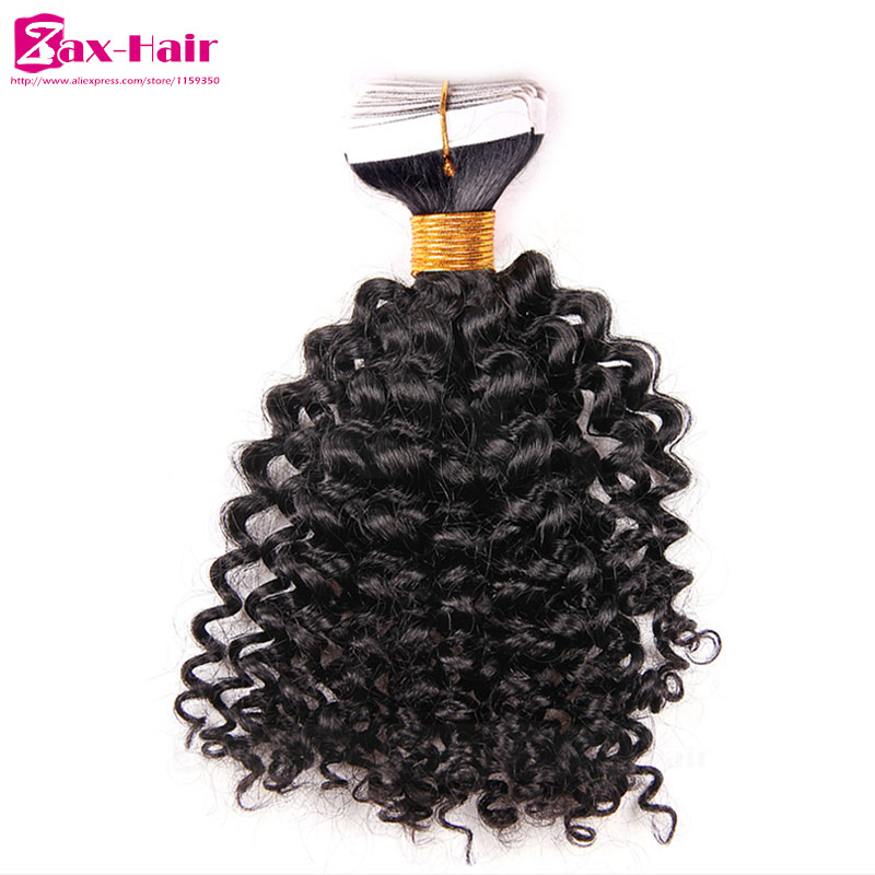 Kinky Curly Tape Hair Extensions Top Quality Hair In Extension Tape Brazilian Virgin Human Hair Skin Weft 40pcs 2.5g Customized