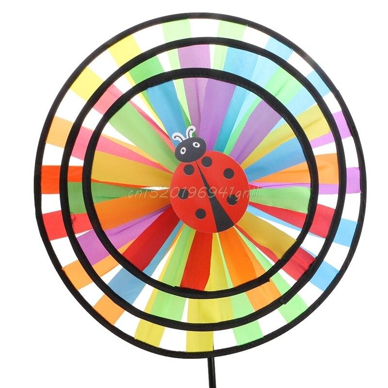 Colorful Rainbow Triple Wheel Wind Spinner Windmill Garden Yard Outdoor Decor