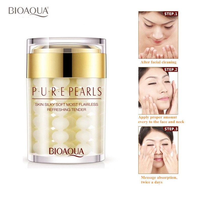 60ML BIOAQUA Brand Pure Pearl Essence Face Cream Deep Moisturizing Skin Care Anti Wrinkle Face Care Whitening Essence Cream 60g brand bioaqua silk protein deep moisturizing face cream shrink pores skin care anti wrinkle cream face care whitening cream page 7
