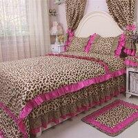 4 adet/takım yatak set seksi leopar baskı yatak ruffles nevresim moda düğün dekorasyon için yatak etek yatak çarşaf
