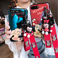 Super cute cartoon Mickey Minnie lanyard+stand silicone personality drop case for iphone 6 7 8 8Plus X XR XS MAX phone cases