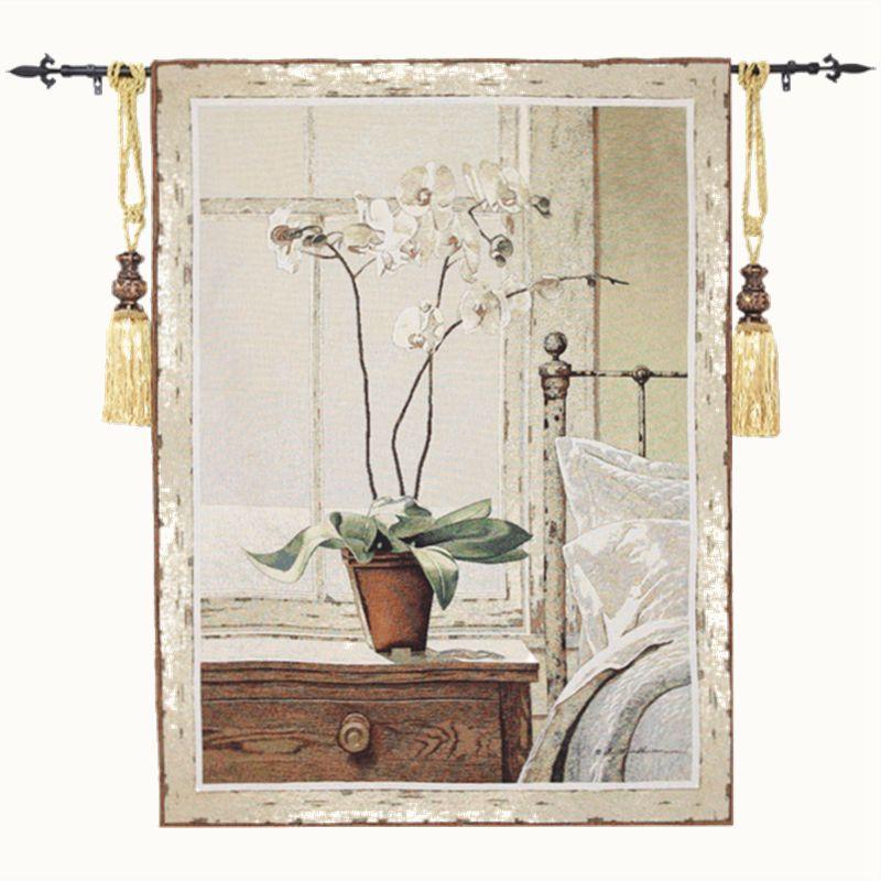 De haute qualité Jacquard Coton tapisserie murale tenture Décor Bohème Orchidée Floral Ferme décoration d'intérieur tapis de mur Fleur 136x100 cm