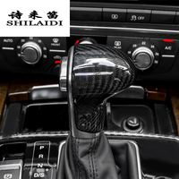 Car styling true carbon fiber Car Gear Shift Knob Covers Level Head Sheath For Audi A4 B8 A5 S5 A6 C7 A7 Q5 Q7 Auto accessories