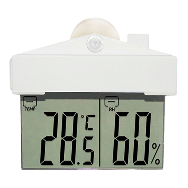 Lcd Window Thermometer Hydrometer Digital Weather Station Suction Cup Indoor Outdoor Large