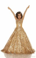 Stunning Beautiful Girls Pageant Dresses With Gold Sequins Kids Evening Dress Halter Ball Gown Flower Girl