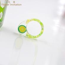 купить Flower Invitation Finished Ring _ Egg shape Handmade Resin Small Fresh Fruit lime Ring дешево
