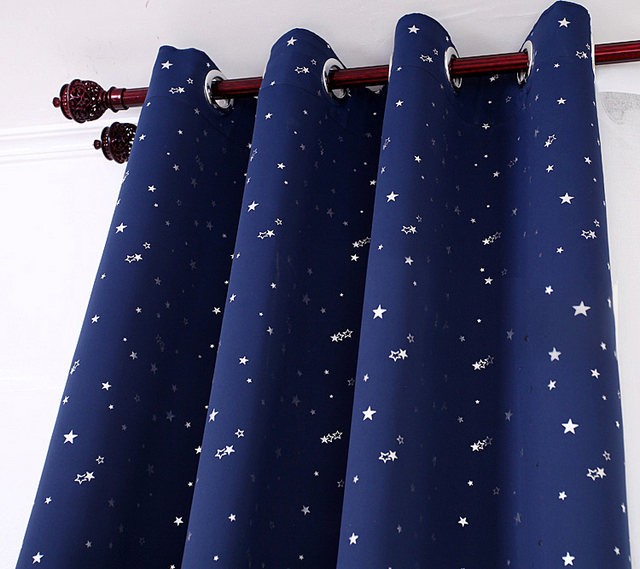 NAPEARL Beautiful Sky Star Patterned Curtains Rideau Blind Blackout Drape For Kid Room Cartoon Blue Bedroom Window