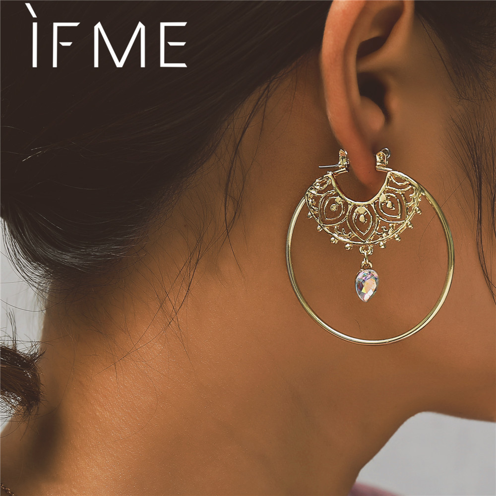 IF ME Vintage Trendy Gold Color Hoop Earrings For Women Bohemian Crystal Statement Geometry Round Creole Earring Pierce Jewelry creole