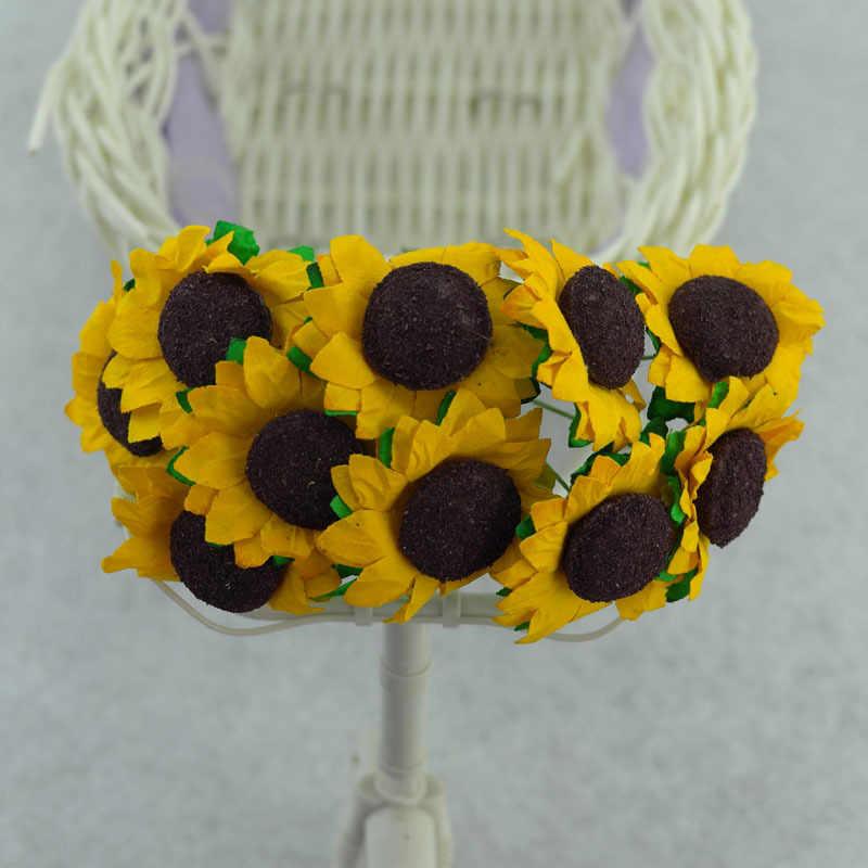 10 قطعة عباد الشمس زهرة الحلوى مربع الديكور صغيرة الشمس 3 سنتيمتر الأصفر عباد الشمس ورقة زهرة